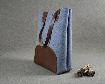 FREE SHIPPING,medium grey felt bag,Leather tote bag, handmade bag,  grey tote, tote, large tote bag, felt tote bag