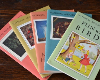 1960 Nature Program National Audubon Society Kids Five Pamphlet Set / Vintage