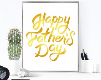 Fathers day gift, Father's day print, Happy father's day, Fathers day card, Gift for dad, Fathers day printable Gold Fathers day digital