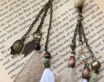 Art Nouveau Feather & Chain Earrings