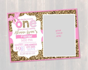 Pink and Gold, First Birthday Invitation, Glitter girl birthday, Glitter Invitation, Girls First Birthday, Pink,white, gold Invitation