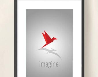 Pterodactyl Print Wall Decor - Origami Wall Art - Red/Grey Minimal Design