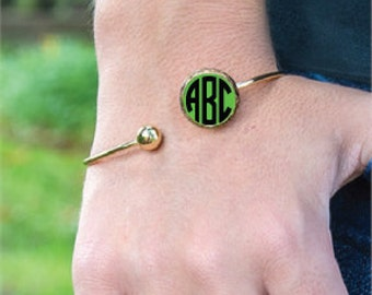 Lime Green Enamel Bracelet Monogram Enamel Bracelet Personalized Enamel Bracelet Monogram Enamel Green Bracelet Enamel Bracelet Lime Jewelry
