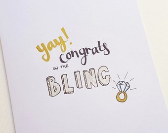 Hand Drawn BLING Ring Engagement Card | Illustrated, Hand Lettered | Engagement Gift, Congratulations | Engagement Ring