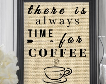 Coffee Kitchen Decor / Coffee Art Print / Burlap Print / Kitchen Sign Wall Decor