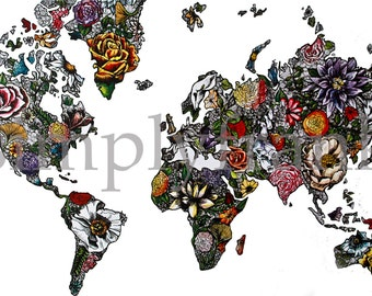 Pretty world map art etsy world map in color sciox Gallery