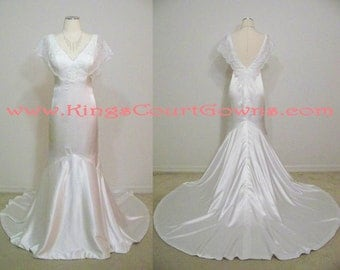 Replica Silk Satin & Lace Trumpet V-Neck V-Back Cap Sleeve Chapel Train Wedding Reception Gown
