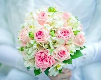 Pink Roses Wedding Bouquet, Artificial Bridal Flower Bouquet, Bridesmaid Bouquet