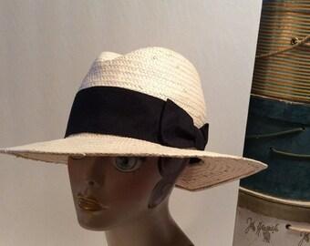 50% Off Sale Vintage H&M Wide Brim Straw Fedora Hat