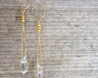 Quartz Dangle Earrings - Quartz Earrings - Quartz Drop Earrings - Drop Earrings -Dangle Earrings -Gift for her -Gift under 35