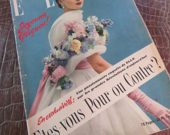 Vintage French Fashion Magazine Edition 'Elle' with 'Givenchy' dress on the front cover/1953/