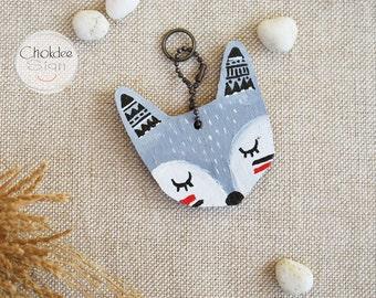 Tribal fox hand painted wood key chain or mini wall hanging ,ornament