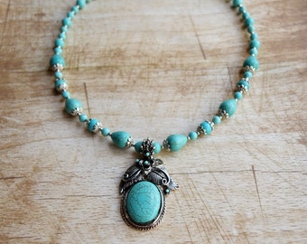 Turquoise Necklace with Pendant Blue Howlite Necklace