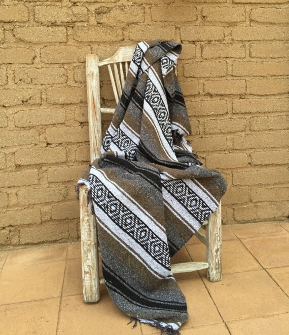 Mexican Blanket Grey Brown Black Stripes Gorgeous Color Combo