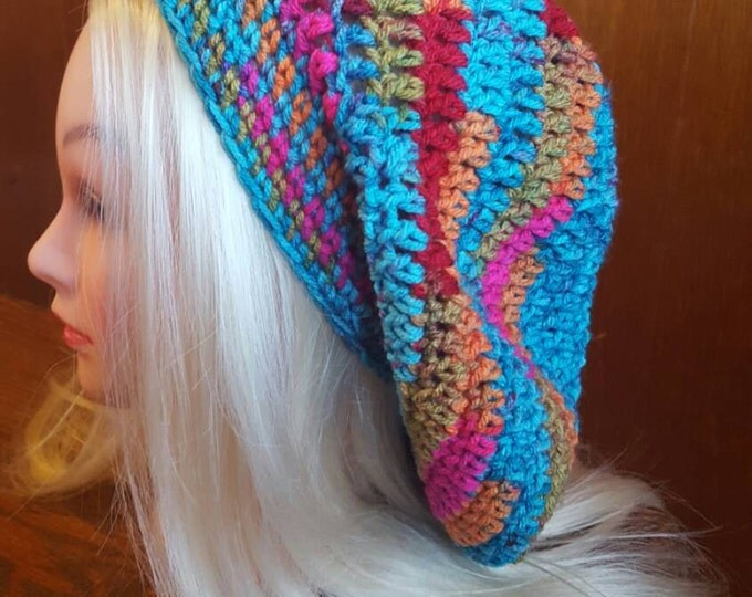 Handmade crochet kaladiscope slouchy hat