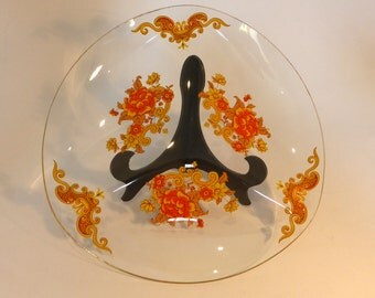 Vintage orange and yellow floral glass sectional plate