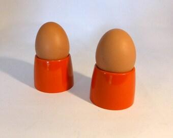 2 vintage orange melamine egg cups - original from the 1970's