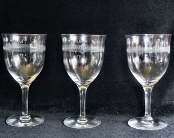 Set of 3 Crystal Water Goblets with Greek Key Needle Etch