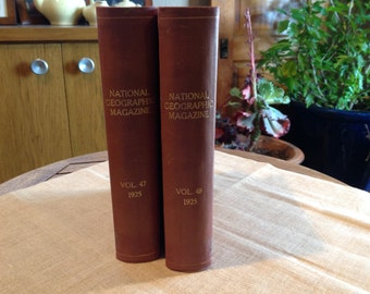 2 National Geographic Magazine Bound Volumes 47 & 48  *Complete Year 1925*