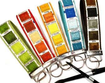 Key Fob, Key Chain, Art Teacher, Fabric Keychain, Fabric Key Fob, Key Chain Wristlet, Watercolor Paint, Artist, Gift for Art Student