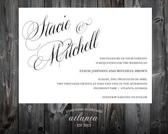 Wedding Invitation Suite Download Glam Rustic RSVP Response Details Card DIY