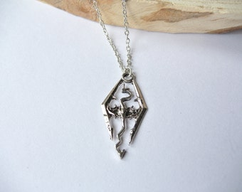 Skyrim dragon logo necklace