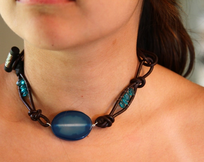 Sky blue leather choker necklace