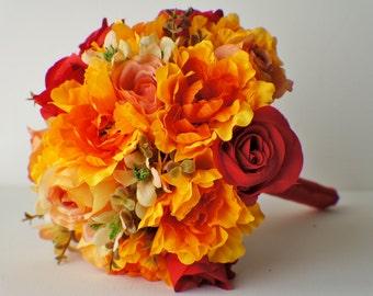 Wedding Bouquet, READY TO SHIP Bridal Bouquet, Wedding Flowers, Silk Wedding Flowers, Red, Yellow, Orange Bouquet, Bridesmaid Bouquet