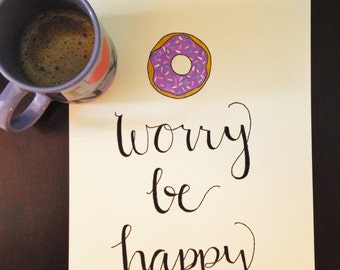 Donut Worry Be Happy Canvas Wall Hanging Wall Decor Art Saying Quote