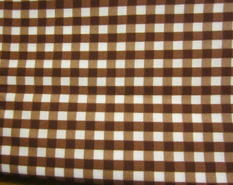 Chocolate Brown Check Fabric Western Theme Retro Cowboy Brown White BTY