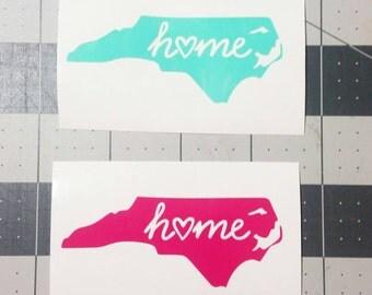 North Carolina Home Vinyl Decal Sticker ! Love the State !
