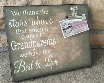 Gift For Grandparents, Personalized Gift, Personalized Picture Frame, We Thank The Stars Above, Christmas Gift, Gift From Grandchildren