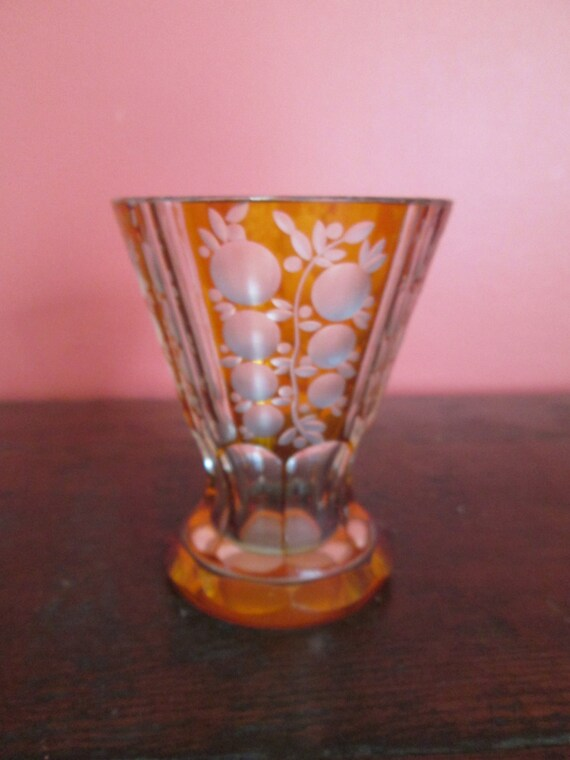 Vintage Bohemian Czech Cut To Clear Amber Glass Vase