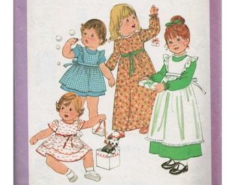 Toddler Dress SIMPLICITY 8279 sz 2 Pinafore Dress Toddler Pattern Girls Prairie Dress Girls Sunday Dress Vintage Girls Dress Toddler Girl