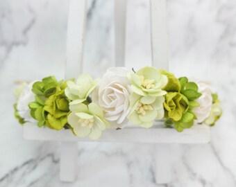 White and green flower crown - wedding floral hair wreath - bridal headpiece - hair accessories - head wreath