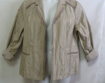 Vintage Chico's Sz 3 (XL 1X) Open Front Fully Lined Beige Blazer with Slight Irredescent Sparkle, Chico's Blazer, 2 Tone with Pockets