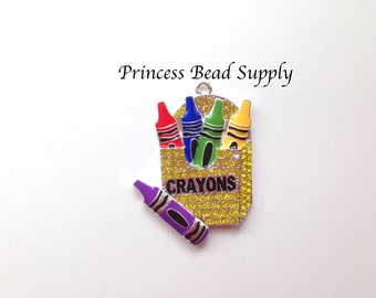 Box of Crayons Rhinestone Pendant for Chunky Necklaces,  Back to School Pendant, 50mm Crayons Chunky Necklace Pendant