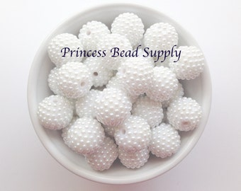20mm White Pearl Rhinestone Chunky Beads Set of 10,  White Pearl Bumpy Beads, Bubble Gum Beads, Gumball Beads, Acrylic Beads