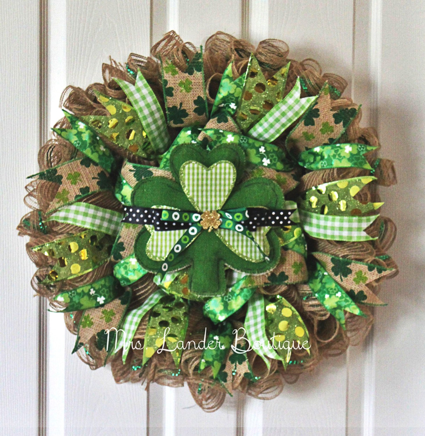 saint patrick 39 s day burlap deco mesh wreath shamrock. Black Bedroom Furniture Sets. Home Design Ideas