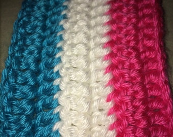 Pastel Cotton Candy Crocheted Scarf