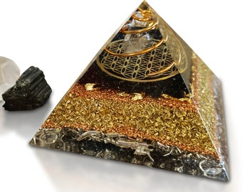 """Orgonit® Pyramid FLOWER OF LIFE """"Your Guardian Angel"""" with Tourmaline"""
