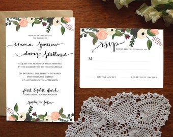 Blush and Burgundy Floral Borders Wedding Invitation
