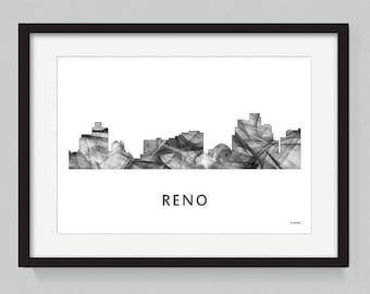 Reno, Nevada skyline WB BW