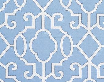 SCALAMANDRE MING FRETWORK Chinoiserie Jacquard Fabric 10 Yards Delft