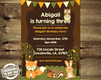 Spring Woodland Animals Birthday Invitation Bday_inv_027