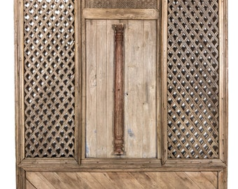 19th Century Jharokha Oxidized Door, Indian Teak Door, Lattice Work Door, Architectural facade, Vintage Indian Door,Indian door,Antique Door