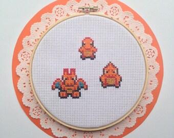 Pokemon Cross Stitch Pattern Charmander Charmelion Charizard Embroidery Needlepoint Buy 2 Patterns Get a 3rd FREE!!!