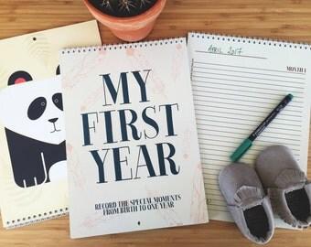 My First Year Baby Calendar // Calendar, My First Year, A4, Animal Calendar, Large Calendar, Nursery, Baby Gift, Baby, Nursery Calendar,