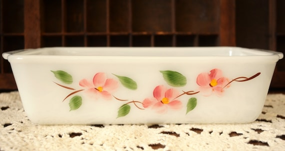 Vintage Fire King Bread Loaf Pan Anchor Hocking Hand Painted