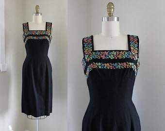 1950s Anne Fogarty Dress / Woven Magic Dress / Vintage Late 50s Black Wiggle Tapestry Dress / S
